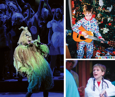 Evan as the Grinch in the 2010 Glorious Christmas Nights production. Top right, Evan got his first guitar for Christmas in 1998. Bottom right, Evan was seven when he first performed with the volunteers who make up the cast at West End Assembly of God.
