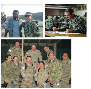 """Scott was thirty-four when he enlisted in the Navy Reserve, declaring the opportunity """"a window he did not want to see closed."""" From left, Scott with an Afghan local in 2012; taking an exam in Djibouti in 2014; with his joint Navy/Army/USAF unit in Afghanistan in 2012."""