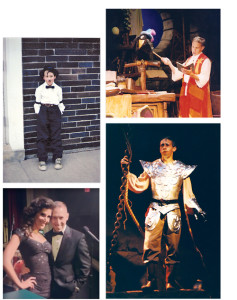 Clockwise from top: Fourth-grade Scott was Charlie Chaplin in a musical revue. Scott performed on the Busch Gardens, Williamsburg stage in the late nineties. In Man of La Mancha, Scott's senior play at Pittsfield High, Scott was Aldonzo alongside Hollywood actress and classmate, Elizabeth Banks. Scott is shown right with Eva DeVirgilis after a 2013 concert from the couple at Westminster Canterbury in Richmond.