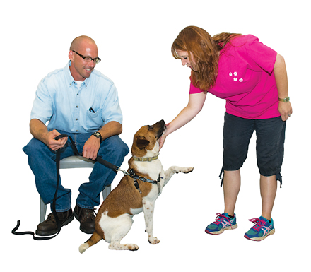 Shane Cubbage, who worked with dog trainer Katie Locks, is preparing Trevor for his next job as beloved family dog. Cubbage says the program has given him a sense of accomplishment.