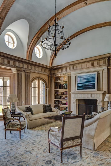 The family room's barrel vault ceiling. Photography by Andrea Hubbell