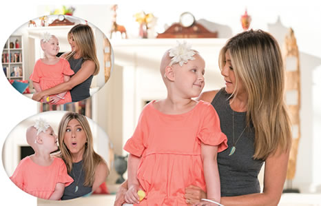 While at St. Jude Children's Research Hospital, Sawyer starred alongside celebrity supporter Jennifer Aniston in a PSA to promote the St. Jude Thanks and Giving campaign.