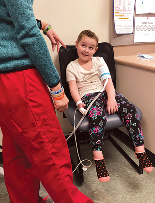 Sawyer and her mom Jamie travel to St. Jude Children's Research Hospital in Memphis every six weeks for brain scans and treatment for stage III anaplastic ependymoma.