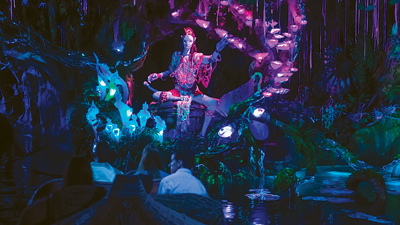 Visitors to Pandora – the World of Avatar in Disney's Animal Kingdom can walk beneath floating mountains, soar on the back of banshees, and sail on a river through a bioluminescent forest for an unforgettable encounter with the Na'vi Shaman of Songs.
